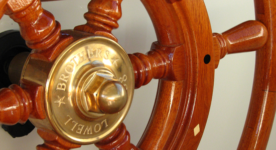 new Lowell 38 lobster boat- ships wheel