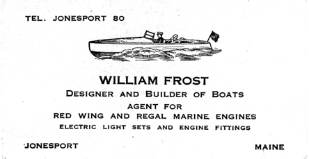Frost business card, 1920s